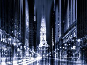 Urban Stretch Series - City Hall and Avenue of the Arts by Night - Philadelphia - Pennsylvania by Philippe Hugonnard