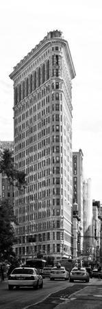 Vertical Panoramic of Flatiron Building and 5th Ave, Black and White Photography, Manhattan, NYC by Philippe Hugonnard