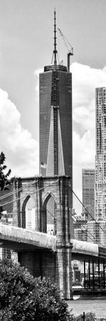 Vertical Panoramic View of Brooklyn Bridge View and One World Trade Center, Manhattan, NYC by Philippe Hugonnard