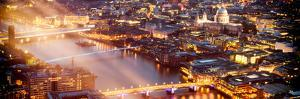 View of City of London with St. Paul's Cathedral and River Thames at Night - London - UK - England by Philippe Hugonnard