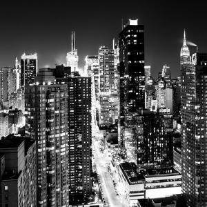 View of Skyscrapers of Times Square and 42nd Street at Night by Philippe Hugonnard
