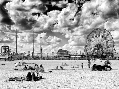 Vintage Beach, Wonder Wheel, Black and White Photography, Coney Island, Brooklyn, New York, US by Philippe Hugonnard
