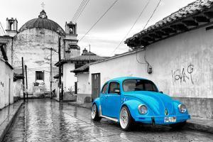 ¡Viva Mexico! B&W Collection - Blue VW Beetle Car in San Cristobal de Las Casas by Philippe Hugonnard