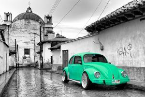 ¡Viva Mexico! B&W Collection - Green VW Beetle Car in San Cristobal de Las Casas by Philippe Hugonnard