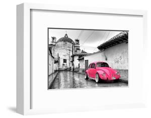?Viva Mexico! B&W Collection - Hot Pink VW Beetle Car in San Cristobal de Las Casas by Philippe Hugonnard