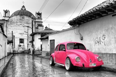 ¡Viva Mexico! B&W Collection - Hot Pink VW Beetle Car in San Cristobal de Las Casas by Philippe Hugonnard