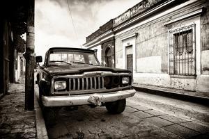 ¡Viva Mexico! B&W Collection - Old Black Jeep in San Cristobal de Las Casas II by Philippe Hugonnard
