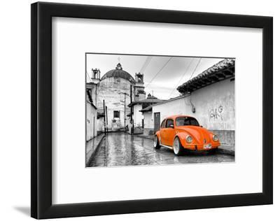 ¡Viva Mexico! B&W Collection - Orange VW Beetle Car in San Cristobal de Las Casas