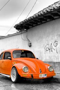 ¡Viva Mexico! B&W Collection - Orange VW Beetle in San Cristobal de Las Casas by Philippe Hugonnard