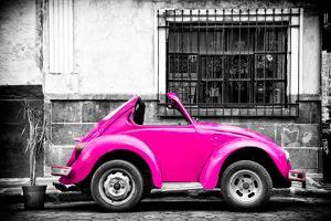 ¡Viva Mexico! B&W Collection - Small Deep Pink VW Beetle Car by Philippe Hugonnard