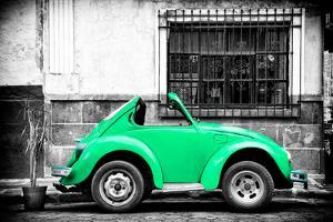 ¡Viva Mexico! B&W Collection - Small Green VW Beetle Car by Philippe Hugonnard