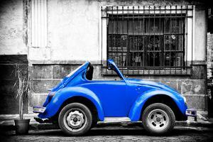 ¡Viva Mexico! B&W Collection - Small Red Royal Blue Beetle Car by Philippe Hugonnard