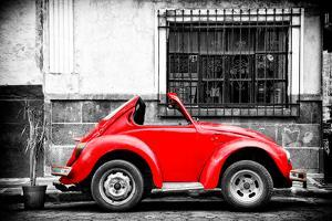 ¡Viva Mexico! B&W Collection - Small Red VW Beetle Car by Philippe Hugonnard