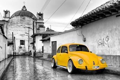 ¡Viva Mexico! B&W Collection - Yellow VW Beetle Car in San Cristobal de Las Casas