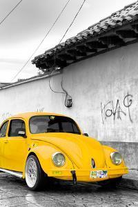 ¡Viva Mexico! B&W Collection - Yellow VW Beetle in San Cristobal de Las Casas by Philippe Hugonnard
