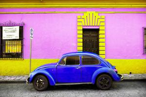 ¡Viva Mexico! Collection - Classic Royal Blue VW Beetle Car and Colorful Wall by Philippe Hugonnard