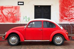 ¡Viva Mexico! Collection - Red VW Beetle Car and American Graffiti by Philippe Hugonnard