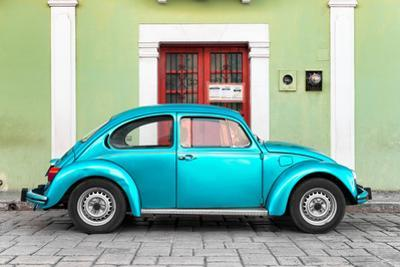 ¡Viva Mexico! Collection - The Turquoise VW Beetle Car with Lime Green Street Wall