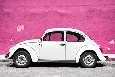 ¡Viva Mexico! Collection - White VW Beetle Car and Pink Street Wall by Philippe Hugonnard