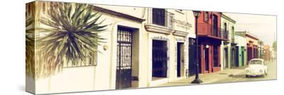 ¡Viva Mexico! Panoramic Collection - Colorful Mexican Street with White VW Beetle V