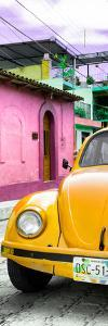 ¡Viva Mexico! Panoramic Collection - Dark Yellow VW Beetle Car and Colorful Houses by Philippe Hugonnard