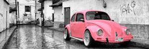 ¡Viva Mexico! Panoramic Collection - Pink VW Beetle Car in San Cristobal de Las Casas by Philippe Hugonnard
