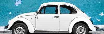 ¡Viva Mexico! Panoramic Collection - White VW Beetle Car and Blue Street Wall