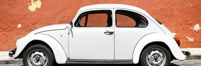 ¡Viva Mexico! Panoramic Collection - White VW Beetle Car and Brown Street Wall