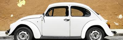 ¡Viva Mexico! Panoramic Collection - White VW Beetle Car and Caramel Street Wall
