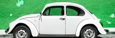 ¡Viva Mexico! Panoramic Collection - White VW Beetle Car and Green Street Wall
