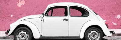 ¡Viva Mexico! Panoramic Collection - White VW Beetle Car and Light Pink Street Wall