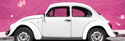 ¡Viva Mexico! Panoramic Collection - White VW Beetle Car and Pink Street Wall