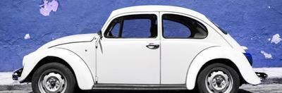 ¡Viva Mexico! Panoramic Collection - White VW Beetle Car and Royal Blue Street Wall
