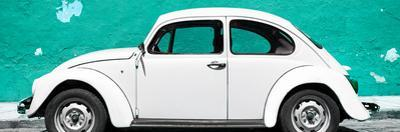 ¡Viva Mexico! Panoramic Collection - White VW Beetle Car and Turquoise Street Wall