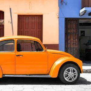 """¡Viva Mexico! Square Collection - """"15 Street"""" Orange VW Beetle Car by Philippe Hugonnard"""