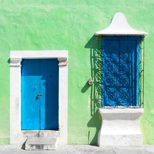 """¡Viva Mexico! Square Collection - """"172 Street"""" Blue & Green by Philippe Hugonnard"""