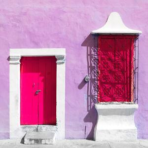 """¡Viva Mexico! Square Collection - """"172 Street"""" Deep Pink & Mauve by Philippe Hugonnard"""
