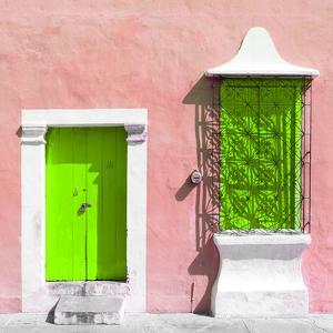 """¡Viva Mexico! Square Collection - """"172 Street"""" Lime Green & Coral by Philippe Hugonnard"""