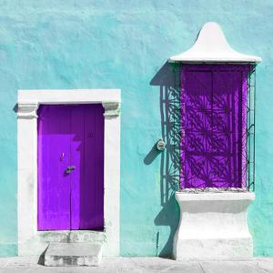 """¡Viva Mexico! Square Collection - """"172 Street"""" Purple & Turquoise by Philippe Hugonnard"""
