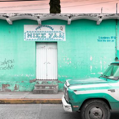 "¡Viva Mexico! Square Collection - ""5 de febrero"" Coral Green Wall"