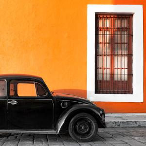 ?Viva Mexico! Square Collection - Black VW Beetle Car with Orange Street Wall by Philippe Hugonnard