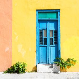 ¡Viva Mexico! Square Collection - Blue Door & Yellow Wall in Campeche by Philippe Hugonnard