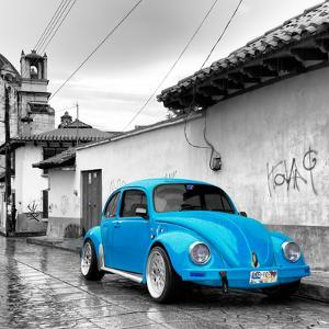 ¡Viva Mexico! Square Collection - Blue VW Beetle Car in San Cristobal de Las Casas by Philippe Hugonnard