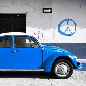 ¡Viva Mexico! Square Collection - Blue VW Beetle Car & Peace Symbol by Philippe Hugonnard