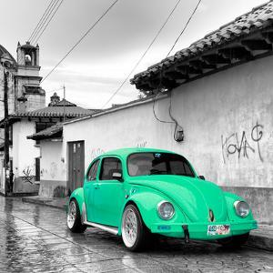 ¡Viva Mexico! Square Collection - Coral Green VW Beetle Car in San Cristobal de Las Casas by Philippe Hugonnard