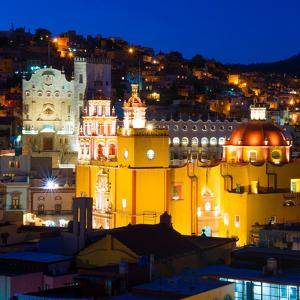 ¡Viva Mexico! Square Collection - Guanajuato Church by Night by Philippe Hugonnard