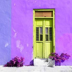 ¡Viva Mexico! Square Collection - Lime Green Door & Purple Wall in Campeche by Philippe Hugonnard