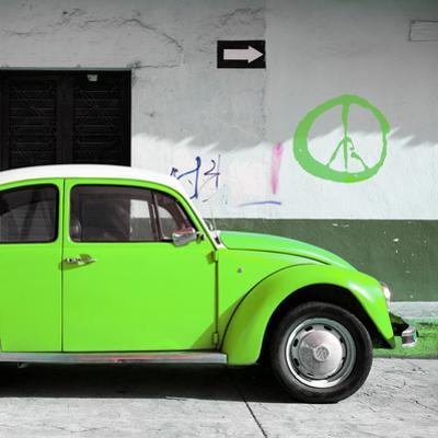 ¡Viva Mexico! Square Collection - Lime Green VW Beetle Car & Peace Symbol by Philippe Hugonnard
