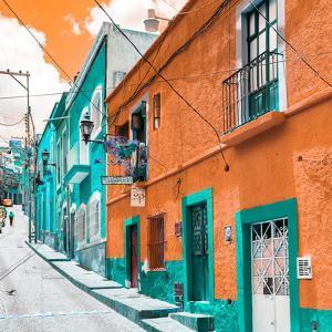 ¡Viva Mexico! Square Collection - Orange & Turquoise Facades of Guanajuato by Philippe Hugonnard
