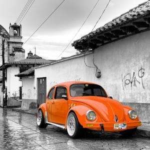 ¡Viva Mexico! Square Collection - Orange VW Beetle Car in San Cristobal de Las Casas by Philippe Hugonnard